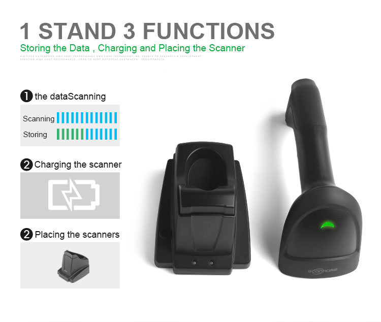 Wireless laser barcode reader with recharging base station supermarket bar code scanner