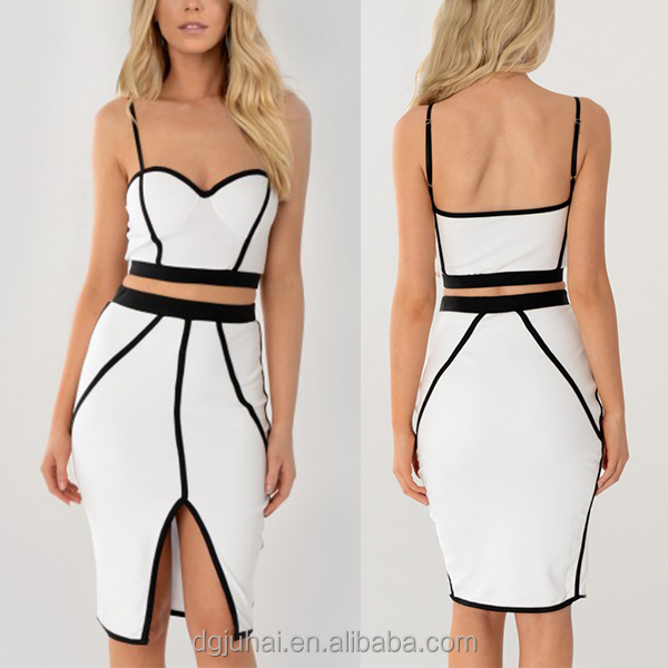 2016 Latest White Contrasting Crop And Skirt Set Dresses Two Pieces Custom Apparel