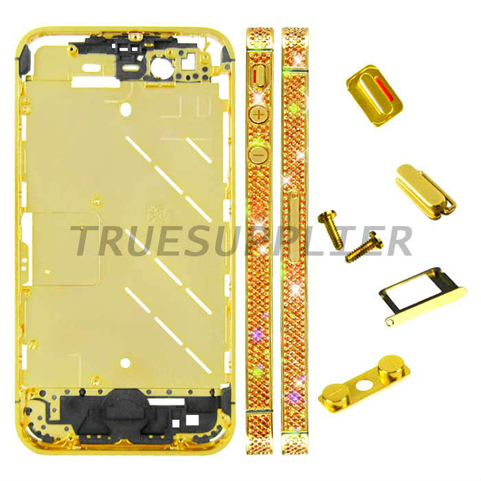 High luxury Orange 1.0 Diamond Housing Middle Plate Gold Color for Apple iPhone 4S