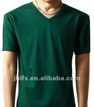 OEM wholesell mens plain color v-neck t-shirts