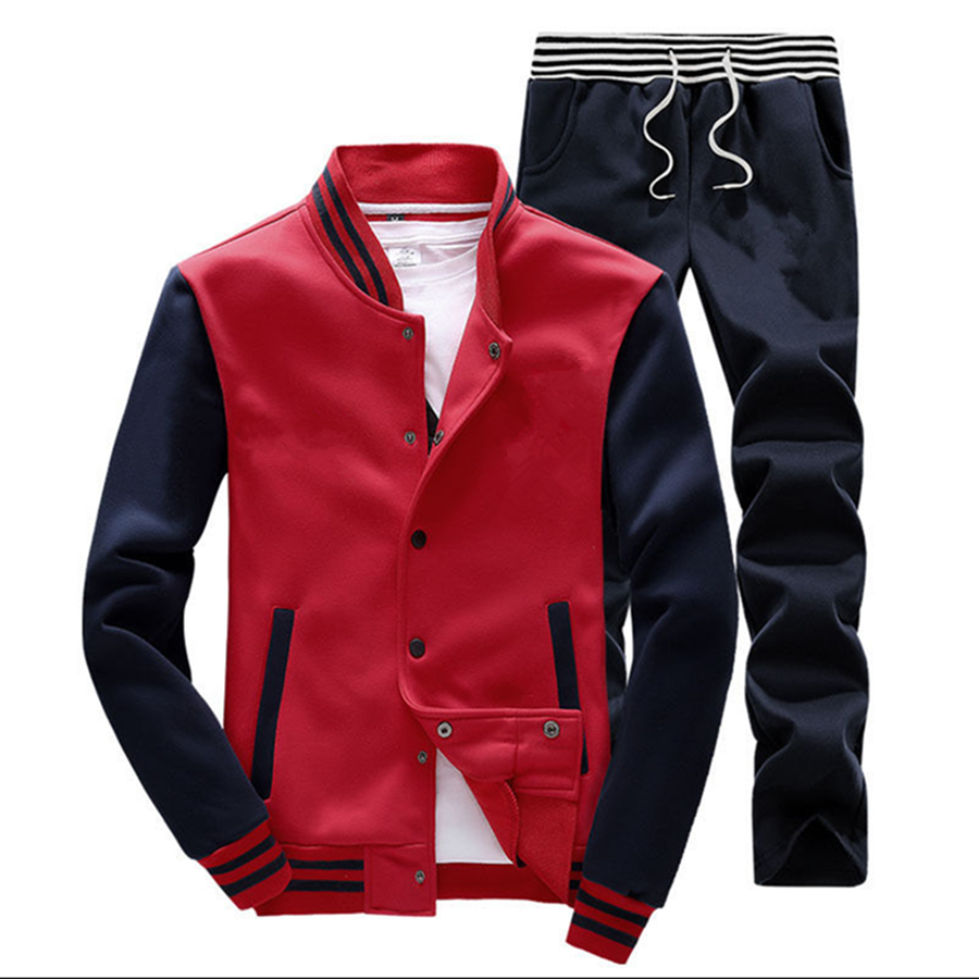 Wholesale Men Baseball Zip 100% Cotton Sweat Suits