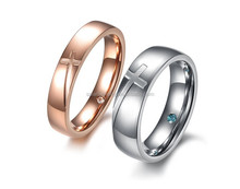 The cross lovers rings Inner micro crystal rhinestone set auger titanium steel couples rings for gifts
