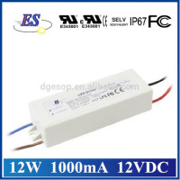 12W out power 12V 1000mA ac dc power supply with IP67 UL CUL CE