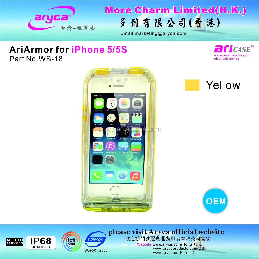 Protective Popular Stylish yellow Waterproof Case for iPhone5/ 5S