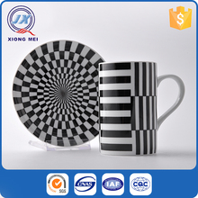 Unique design black and white porcelain colorful mug with tray