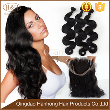 Factory wholesale price 100% virgin Brazilian human hair 360 lace frontal closure with weave bundles