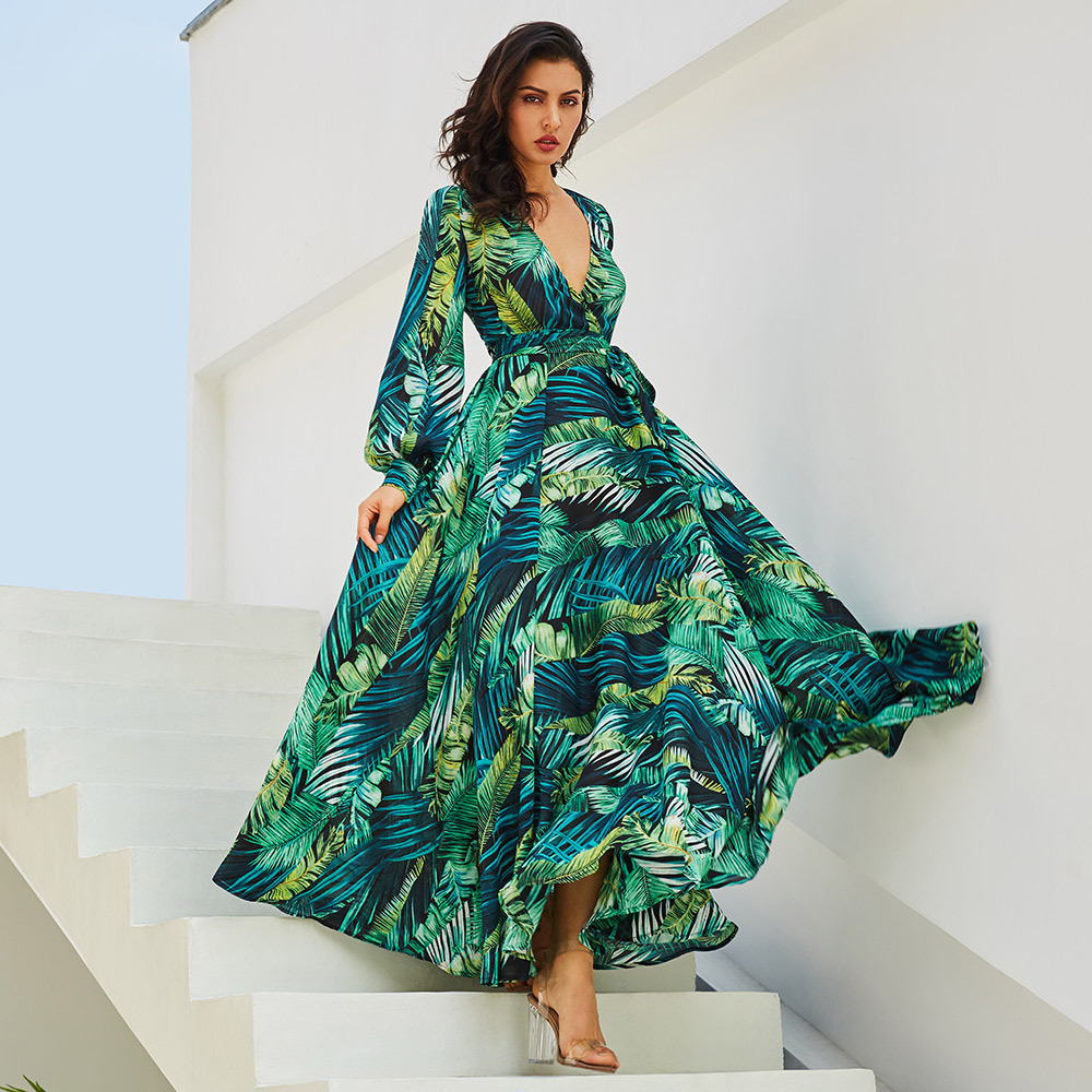 Long Sleeve Dress Green Tropical Beach Vintage Maxi Dresses Boho Casual V Neck Belt Lace Up Tunic Draped Plus Size Dress 50% off