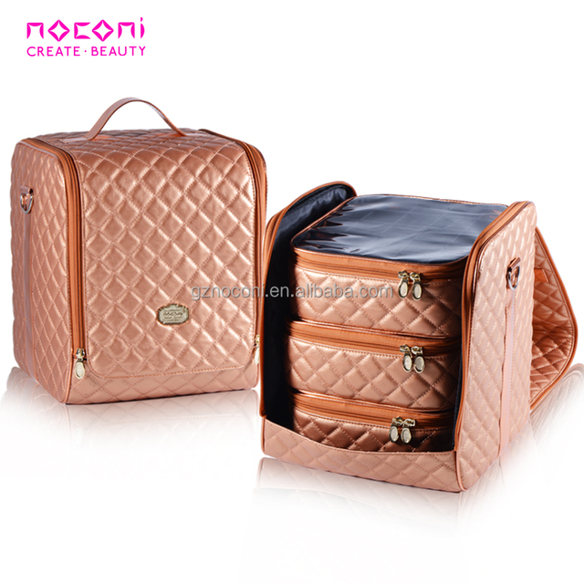 2018 new wholesale china cheap quilting rose gold cosmetics bag inside pvc clear pouch large storage cosmetic case