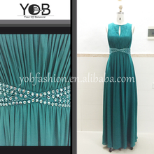 Wholesale blave beaded turquoise long chiffon pleated evening dresses cocktail dresses party dresses for senior