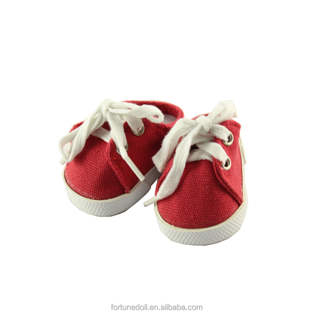JC02-doll shoes-18inch american girls doll red shoeslace sneaker-doll manufacturer china
