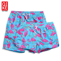 Athletic Mens sports Swim Trunks Quickly Drying Flamingo Printed boy's Board Shorts