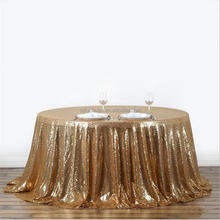 "132"" Round Luxury Champagne Sequin Table Cloth Wedding"