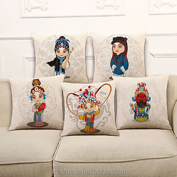 Chinese style Beijing Opera facebook heated printed characterastic design pillow washable pillow case