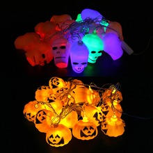 Hanging Halloween Pumpkin Lantern 3D Plastic Skull String Lights halloween decoration