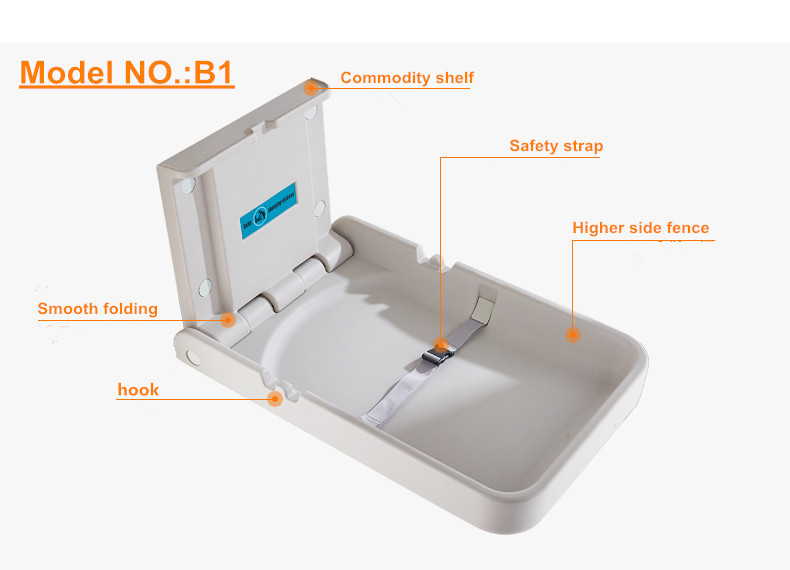 2017 new design Hot sale PE plastic folding baby diaper changing station