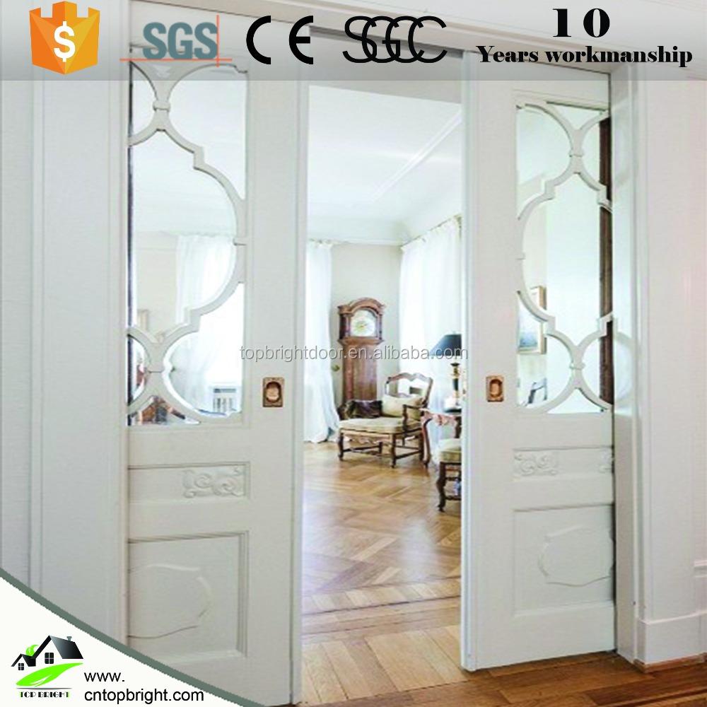 latest design wooden glass sliding pocket door for sale