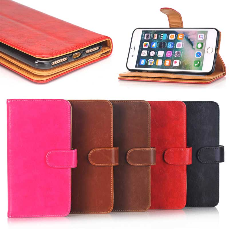 Smooth Crazy Horse Pattern Leather Cell Phone Wallet Case for iPhone 7 Plus with Magnetic Lock
