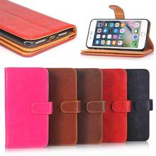 Smooth Crazy Horse Pattern Leather Wallet Cell Phone Case for iPhone 7 Plus with Magnetic Lock