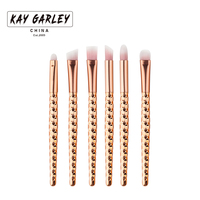 6pcs Eyes Makeup Brushes Set Rose gold handle Cosmetic Eyshadow contour shadow highlight Powder Blending Brush beauty tools kits