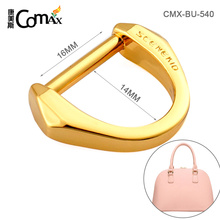 Engraved Logo Gold Meta D Ring Buckle For Bag Strap