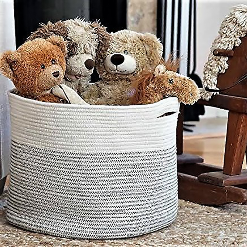Handmade eco friendly Christmas gift storage cotton rope woven laundry basket for kid clothes toys sundries with leather handles
