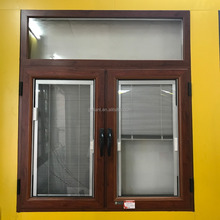 Workshop double aluminum casement window with manual blinds