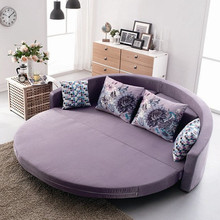 Comfortable round sofa bed with colorful cushion bright color sofa cum bed for living room furniture