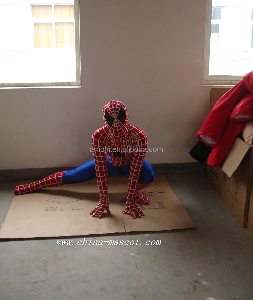 Free shipping brand new spiderman mascot costume fancy dress adult size Halloween cartoon costume