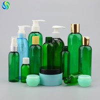Green Cosmo round plastic bottles, green pet bottle, PET plastic bottle supplier