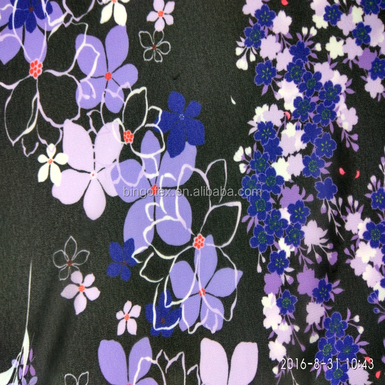 75D Polyester Twist Digital Calico Chiffon black Flower Silk Print Fabric for Jacket