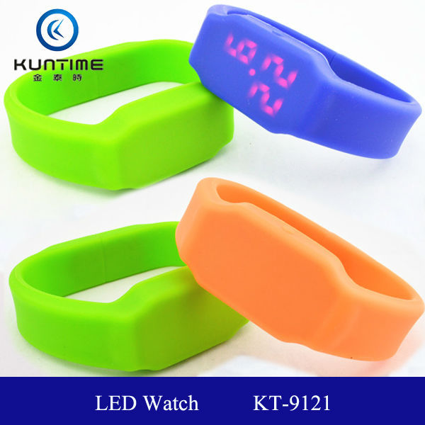 luxury watchcolour silicone led watch KT-9121 white or red lights LED usb led watch usb flash drive