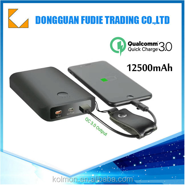 12500mah Qualcomm Quick Charge 3.0 Type C 5V/3A input & output Power Bank Portable Charger External Battery Pack