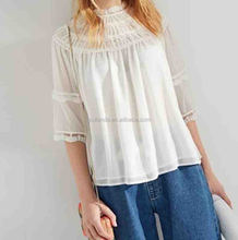 Best quality super design lady white clothing lace blouse