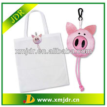2013 Hot Sale Pig Polyester Reusable Compact Shopping Bag