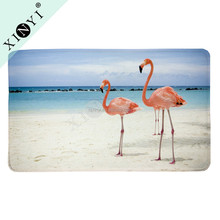 Washable non-slip custom size bath rugs new design flamingo digital printed rug pad