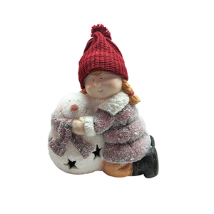 Reliable supplier Xmas decoration magnesium fiberglass Christmas figures lovely snowman girl with wool hat