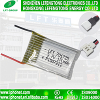 High quality rechargeable lithium polymer batteries 701725 rc 170mah 3.7v li ion battery