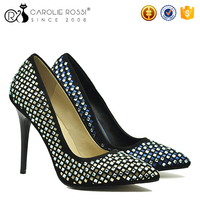 Custome rhinestone shoes ladies party bulk wholesale shoes high heels