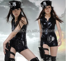 Black Leather Cool & Sexy Female Police Costume Clubwear, Halloween Cheap Cosplay Costume