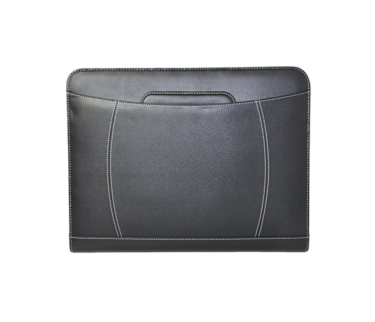 A4 zip faux leather presentation 3-hole metal clip file folder