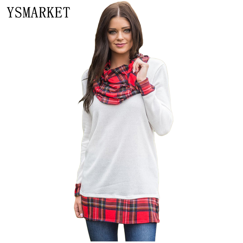 2018 Women Vogue Wine Plaid Split Long Sleeve with Striped Cuffs T-Shirt Cowl Neck Tunci Pullover E250588