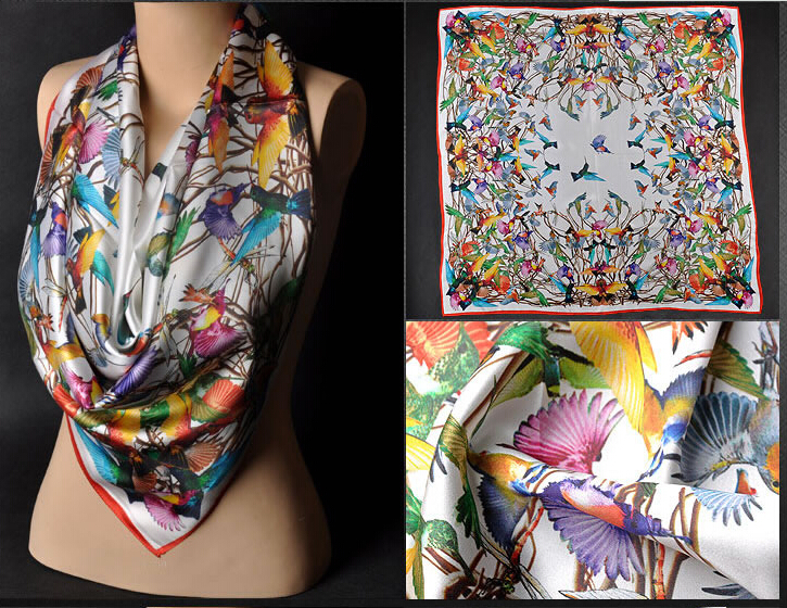 custom digital printing silk scarf with custom design