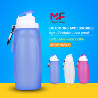 Customized Small Silicone Foldable Sport Water Bottles Without Labels