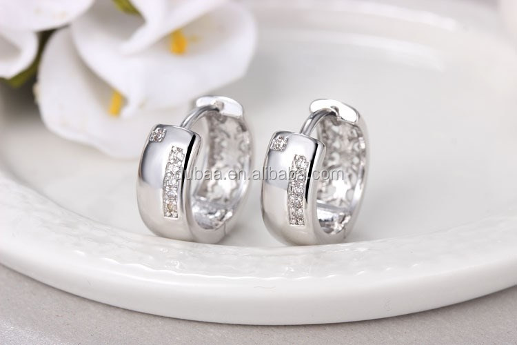Elegant Women Silver Ear Stud Crystal Rhinestone Hoop Earrings Dubaa