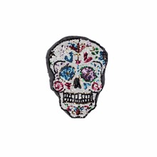 big sequins skull patches sew on clothing patch