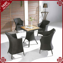 S&D Popular creative wood/ rattan table chairs tea table chair