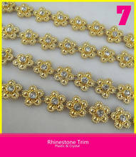 Fresh Gold Flower Plated Rhinestone Chain Trim Plastic and Crystal Trim with High Quality