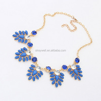 N707 Free shipping Epoxy resin necklace with great New Flower resin necklace Hot selling Leaf shape alloy resin necklace