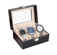 carbon fiber pattern sewing pu leather watch box wholesale