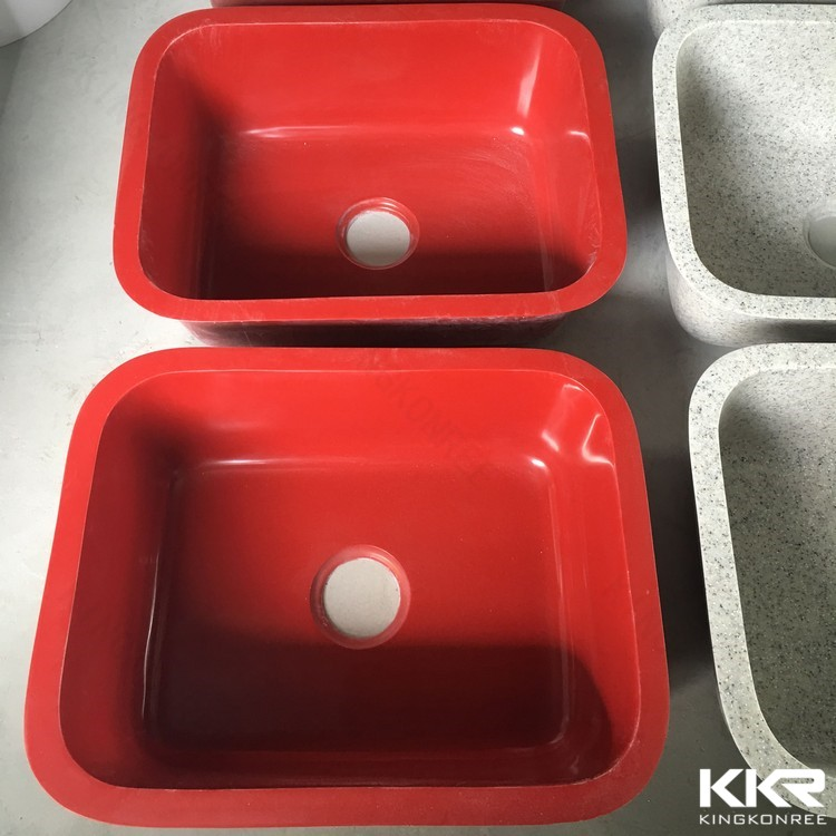 High quality solid surface red kitchen sink